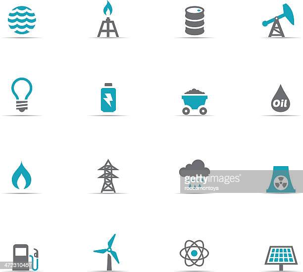 icon set of energy and industry - oil drum stock illustrations, clip art, cartoons, & icons