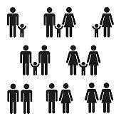 Icon set of families