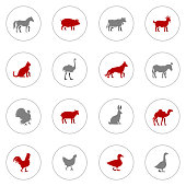 Icon Set of Farm Animals