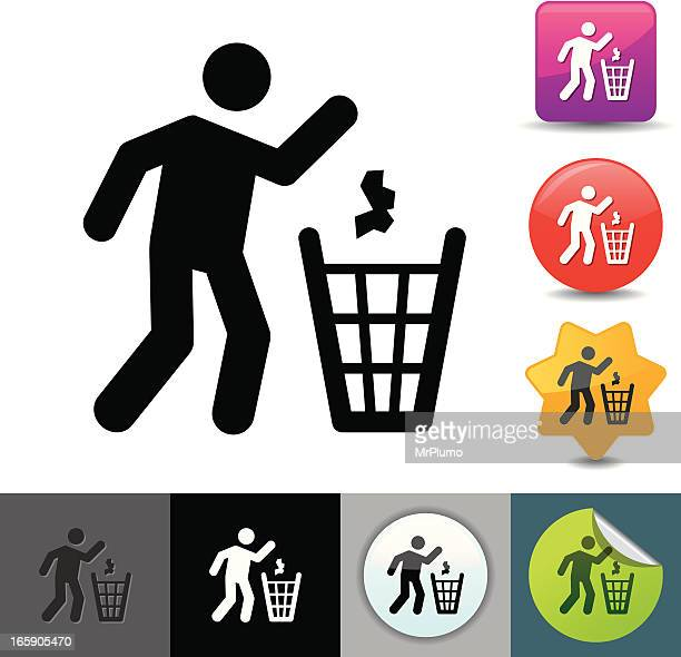 Icon set of figure throwing trash into garbage can