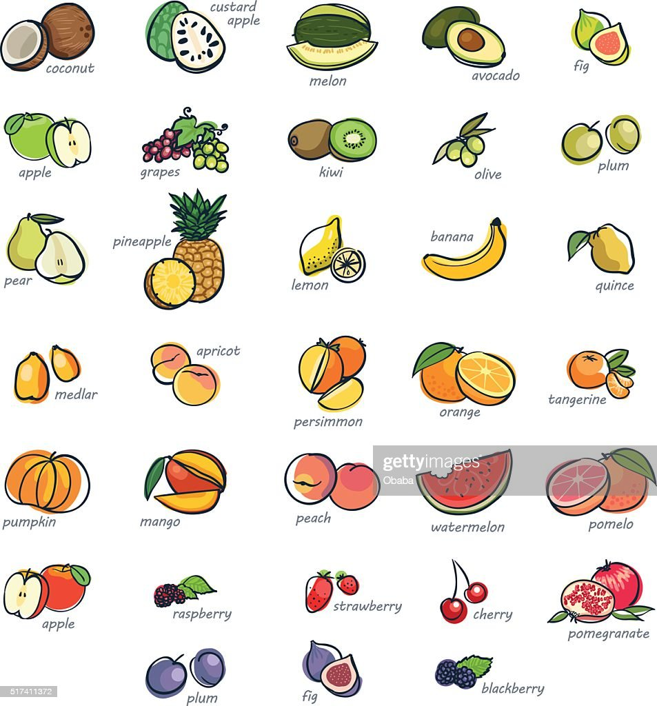 Icon set of fruits