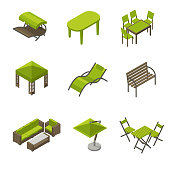 Icon set of garden furniture in isometric style