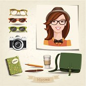Icon set of hipster girl with her accessories