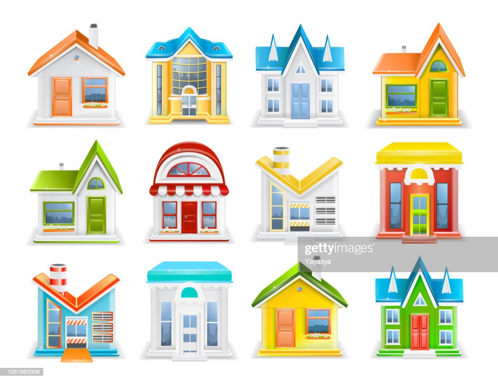 Icon set of houses and buildings of different types vector illustration