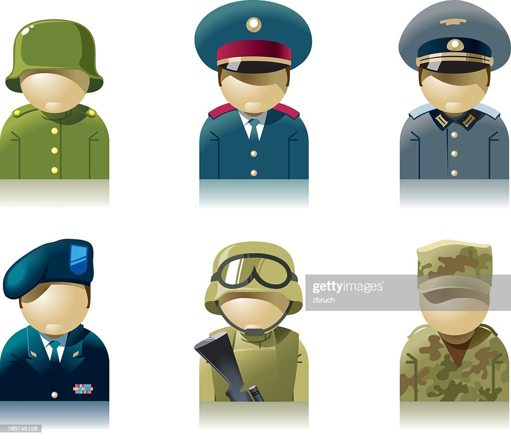 Icon set of military professions : Stock Illustration