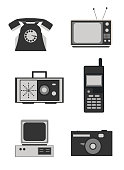 Icon set of retro electronics devices in black and white
