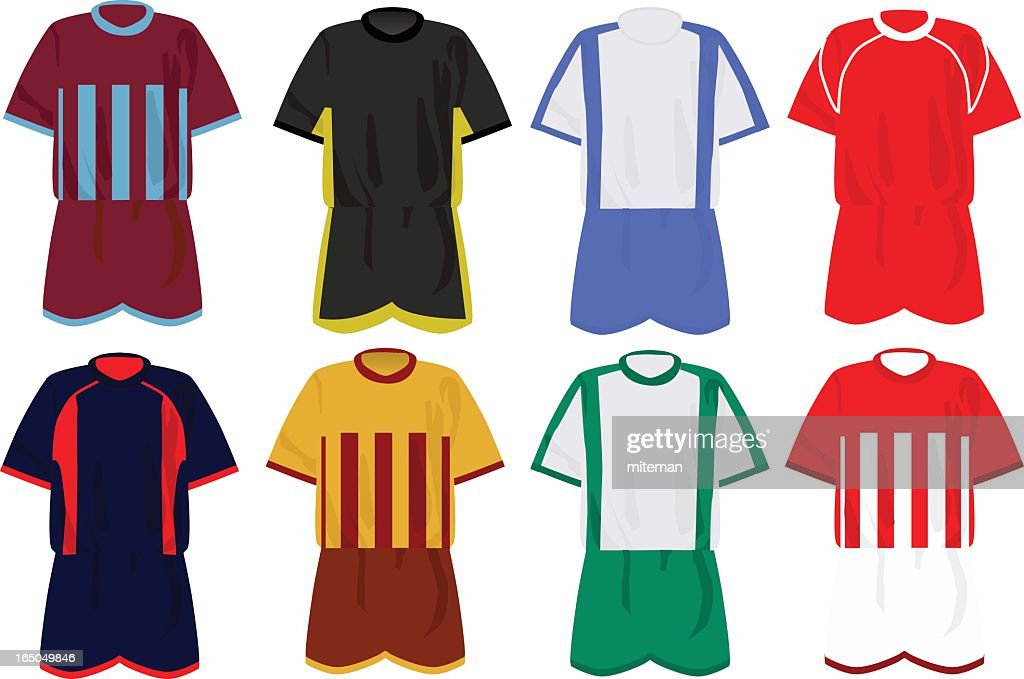 Icon set of soccer uniforms in various colors and patterns : stock illustration