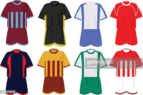 Icon set of soccer uniforms in various colors and patterns