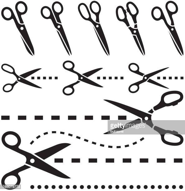 icon set of tailor scissors with dotted lines - dotted line stock illustrations