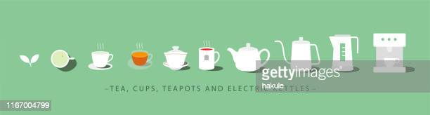 icon set of tea, cup, teapot and electric kettle - electric heater stock illustrations, clip art, cartoons, & icons