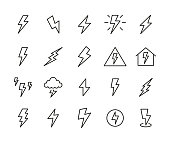 Icon set of thunder.