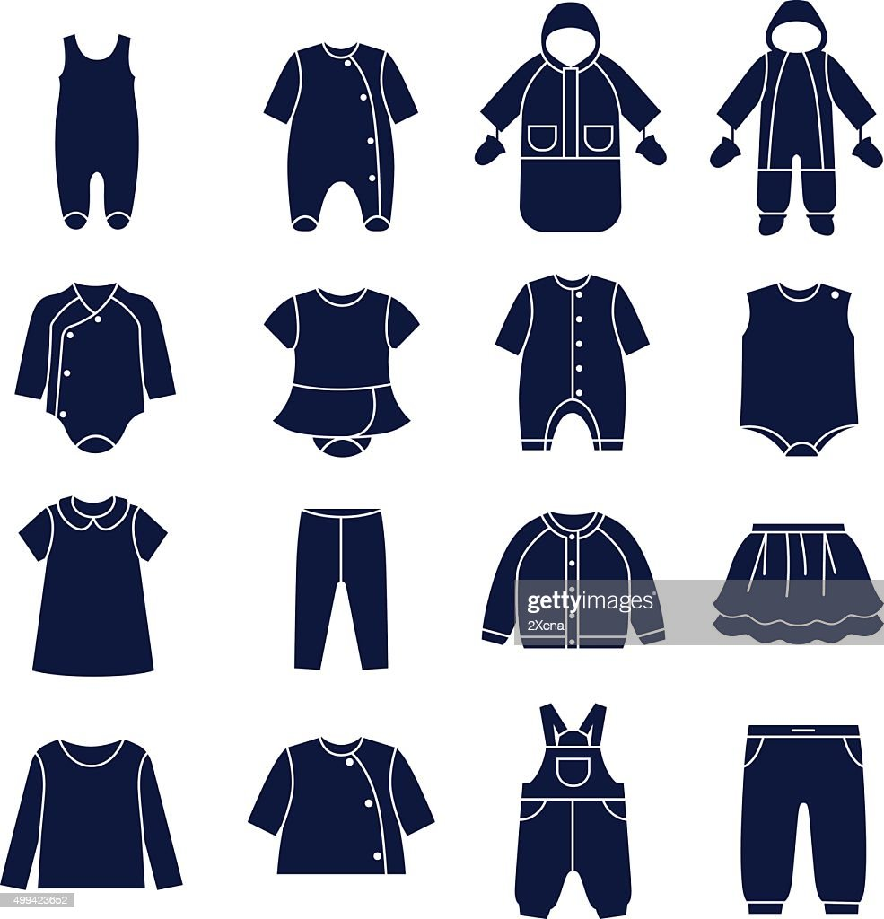 Icon set of types of clothes for babies