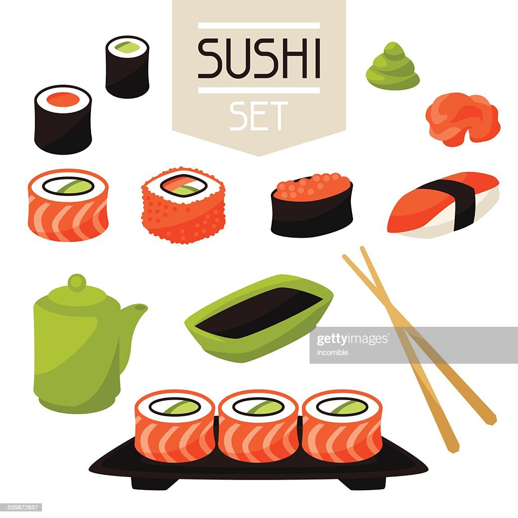Icon set of various sushi
