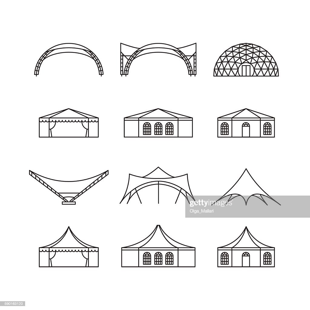 Icon set of various types event tent.