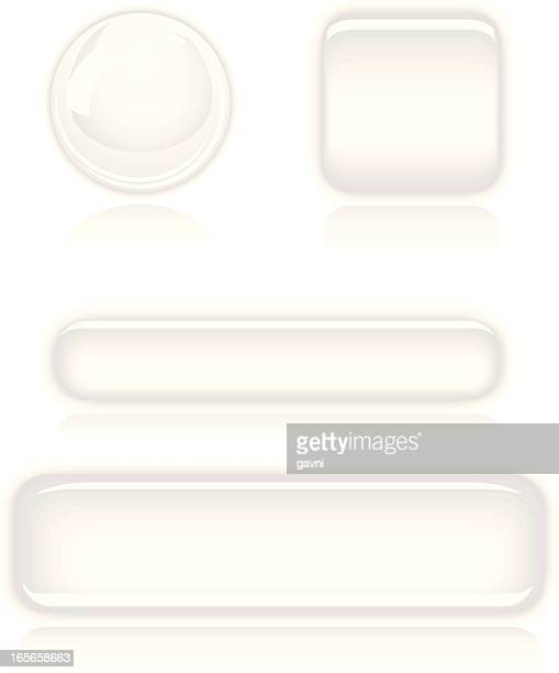Icon set of white three dimensional buttons