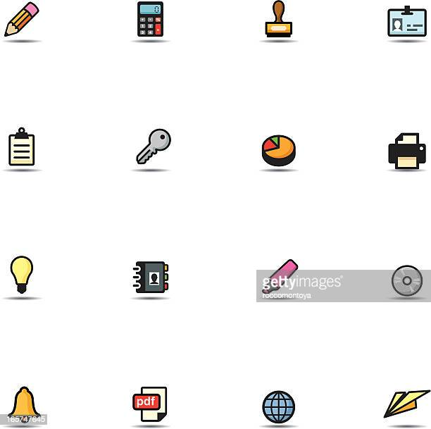 icon set, office - security pass stock illustrations, clip art, cartoons, & icons