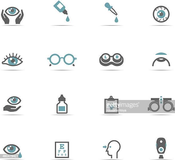 icon set, optometry - ophthalmology stock illustrations, clip art, cartoons, & icons