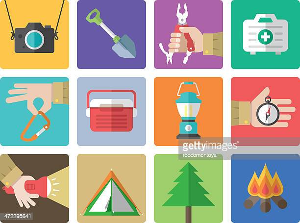 Icon set, Outdoor and Camping Color