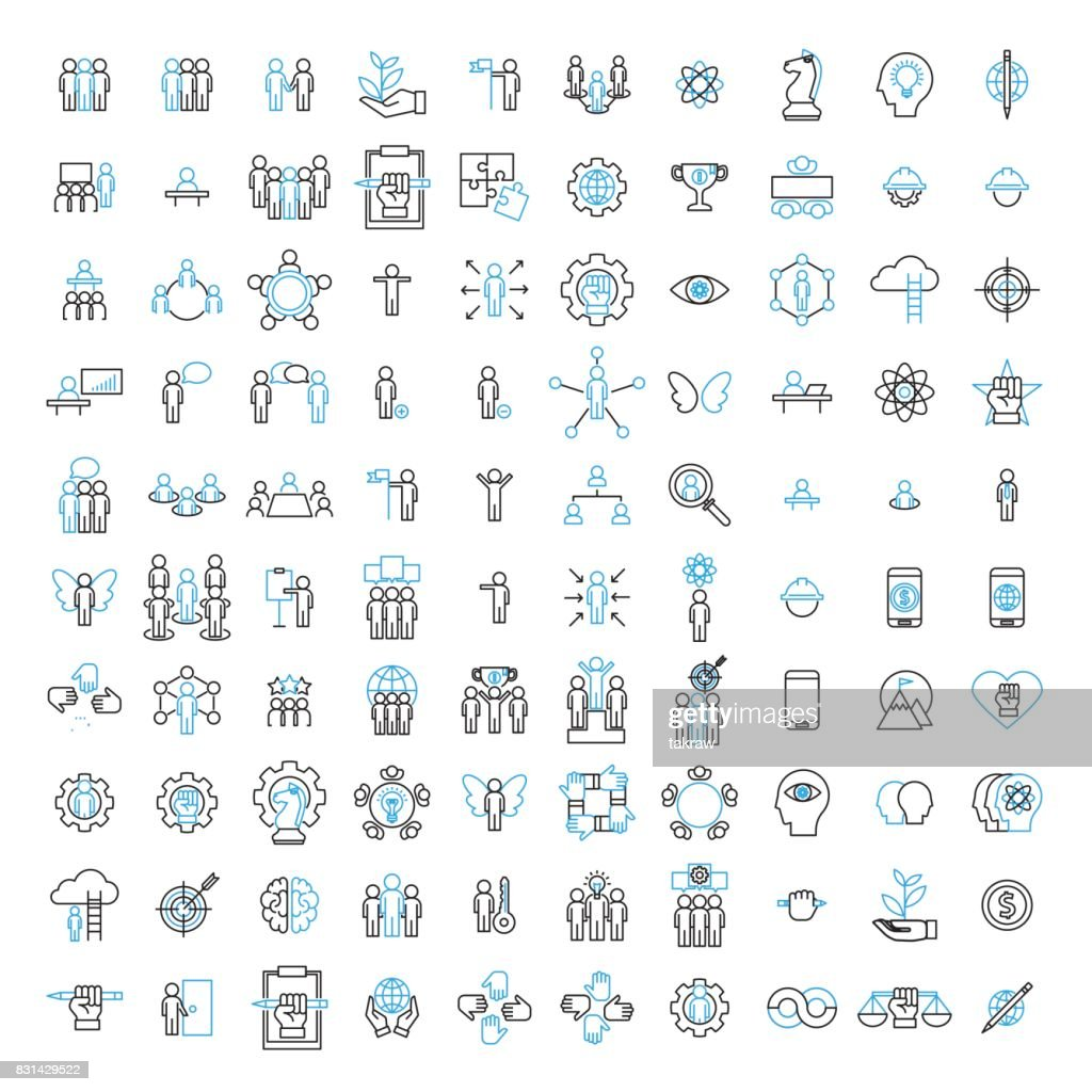 100 icon set, people, management, strategy and human resource concept. Modern flat thin line vector illustration.