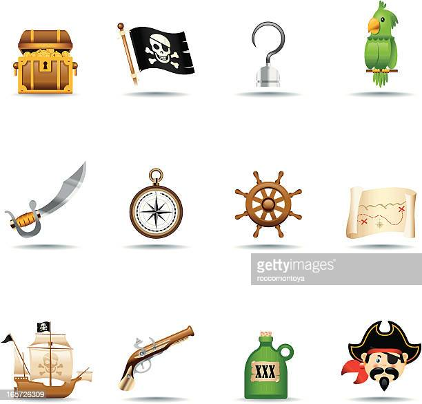 icon set, pirates - brigantine stock illustrations, clip art, cartoons, & icons