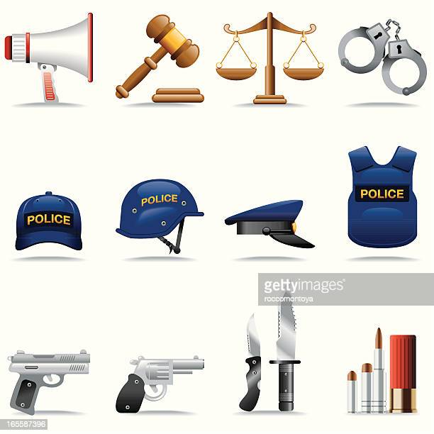 icon set, police and justice - uniform cap stock illustrations