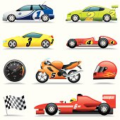 Icon Set Race Cars Racing Icons Stock