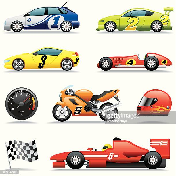 icon set, race cars - rally car racing stock illustrations, clip art, cartoons, & icons