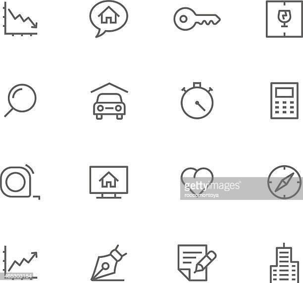 不動産のアイコンセット、 - 証書点のイラスト素材/クリップアート素材/マンガ素材/アイコン素材