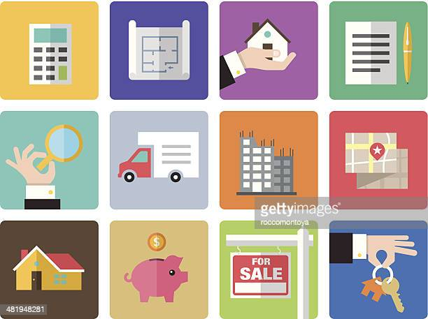 icon set, real estate - new home stock illustrations, clip art, cartoons, & icons