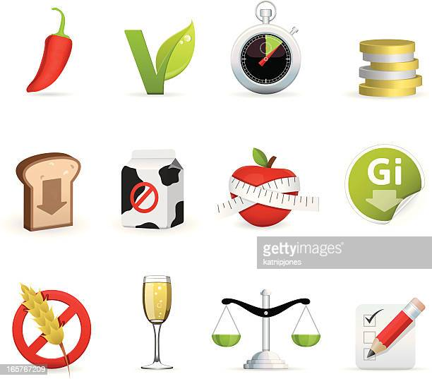 icon set - recipes - shopping list stock illustrations, clip art, cartoons, & icons