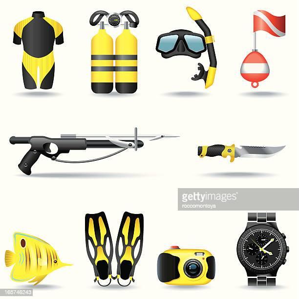 icon set, scuba diving - aqualung diving equipment stock illustrations