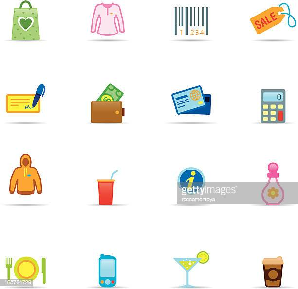 icon set, shopping mall color - paycheck stock illustrations, clip art, cartoons, & icons