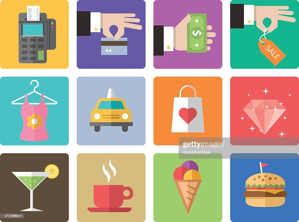 Icon Set, Shopping Mall : stock illustration