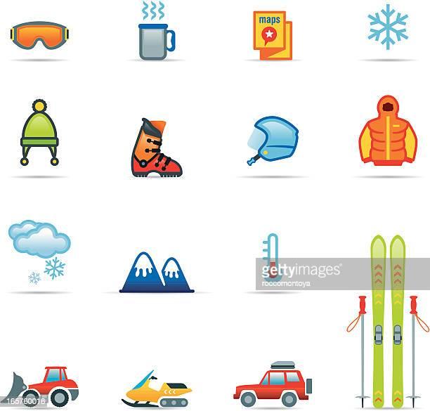 illustrations, cliparts, dessins animés et icônes de ensemble d'icônes de couleur, ski - ski alpin