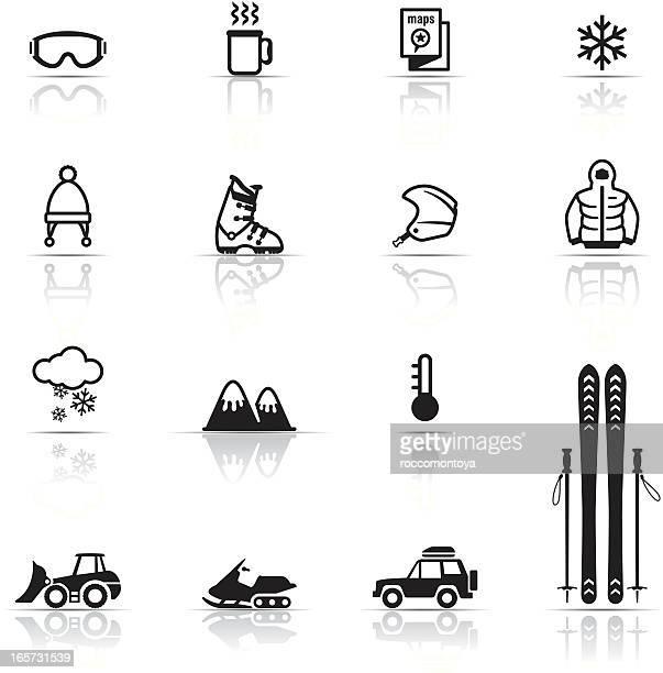 illustrations, cliparts, dessins animés et icônes de ensemble d'icônes, de ski - ski alpin