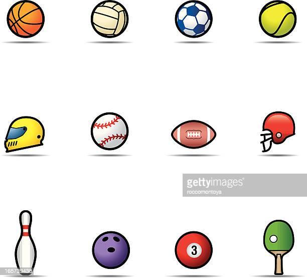 icon set, sports balls - motorcycle helmet stock illustrations, clip art, cartoons, & icons
