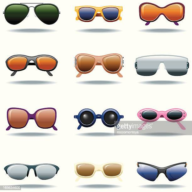 icon set, sunglasses - cat's eye glasses stock illustrations