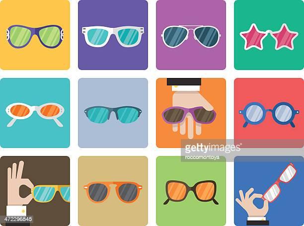 アイコンセットのサングラス - 視力検査機器点のイラスト素材/クリップアート素材/マンガ素材/アイコン素材