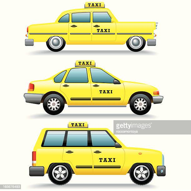 icon set, taxi cars - yellow taxi stock illustrations, clip art, cartoons, & icons
