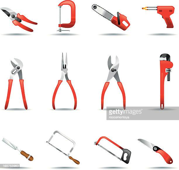 icon set, tools - hedge trimmer stock illustrations, clip art, cartoons, & icons