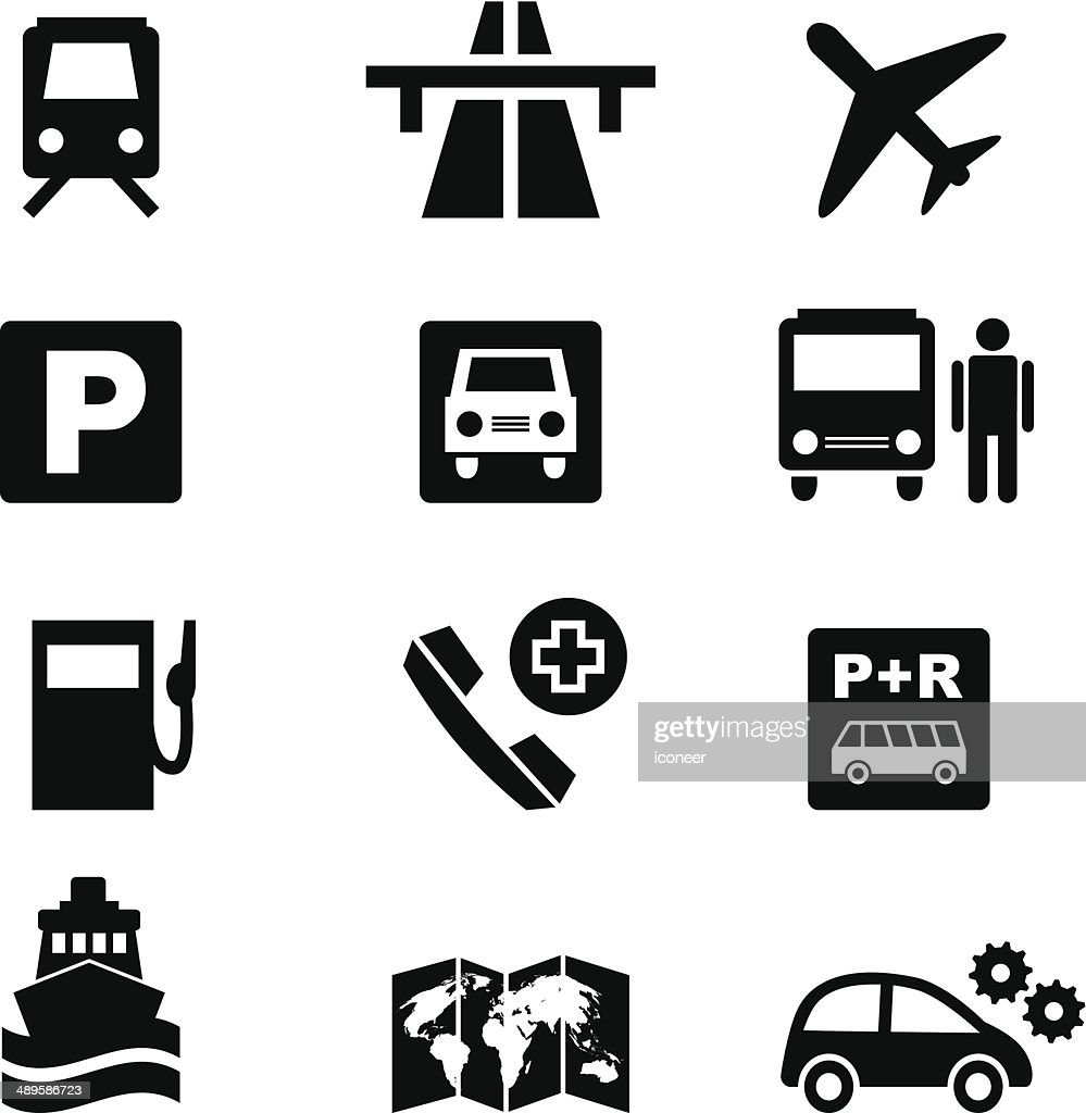 Icon set traffic and travel in black