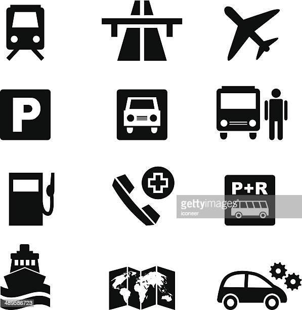 illustrazioni stock, clip art, cartoni animati e icone di tendenza di set di icone nero del traffico e informazioni sui viaggi - autostrada