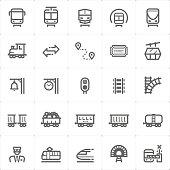 Icon set – train and transport vector illustration