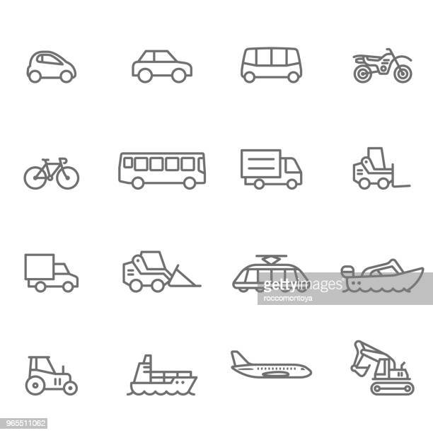 icon set, transportation - illustration - line art stock illustrations