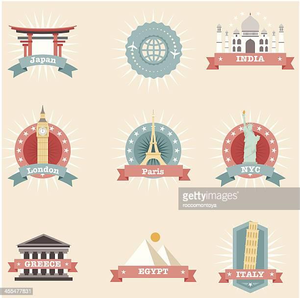 ilustrações, clipart, desenhos animados e ícones de conjunto de ícones de viagens, conceitos - partenão acrópole