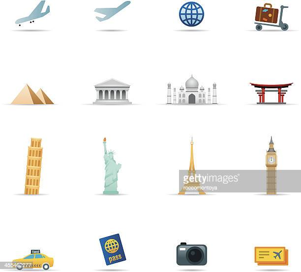 icon set, travel items color - monument stock illustrations