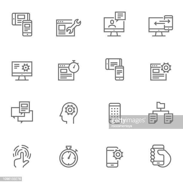 icon set ui/ux icons - illustration - flexibility stock illustrations