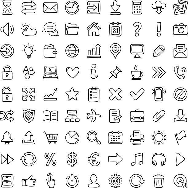 icon set. - pencil drawing stock illustrations