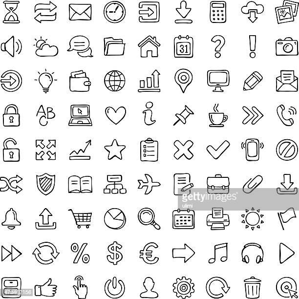 icon set. - pencil drawing stock illustrations