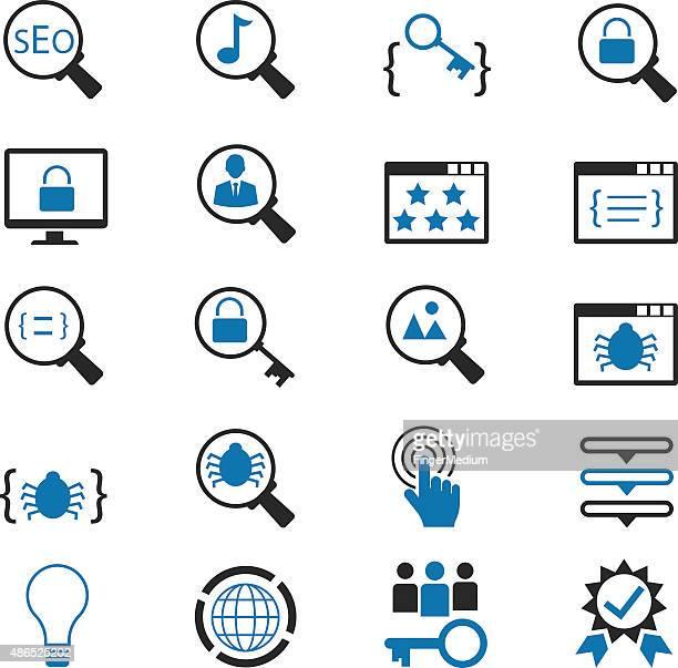 seo icon set - coordination stock illustrations, clip art, cartoons, & icons